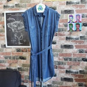 Women's denim dress with belt